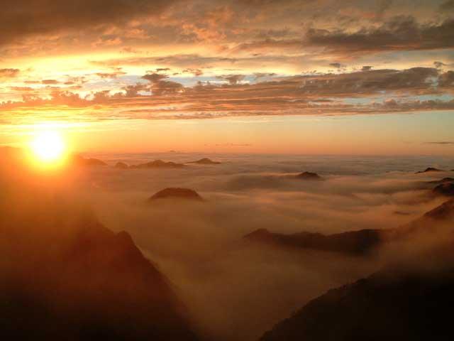 五竜山荘から見た夕陽